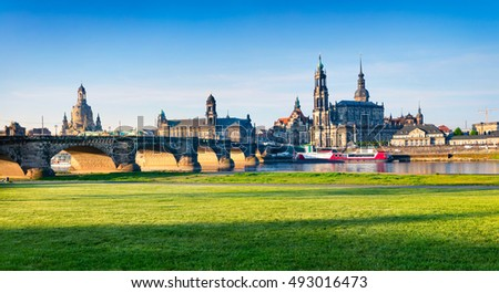 morning view of Cathedral of the Holy Trinity or Hofkirche, Bruehl's Terrace or The Balcony of Europe. Colorful spring scene on Elbe river in Dresden, Saxony, Germany, Europe.