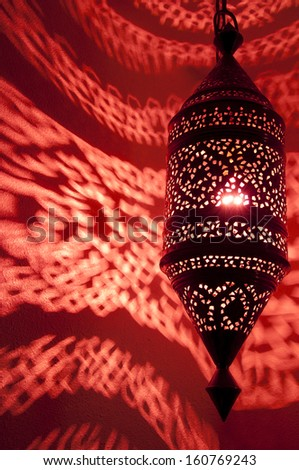 Moroccan Lantern Lamp With Red Reflected Light Swirling