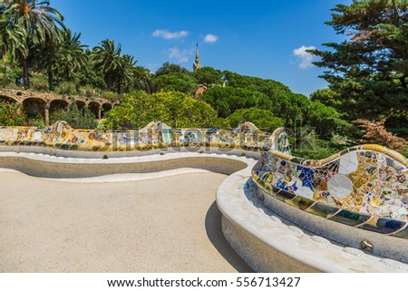 Mosaic Bench in Park Guell Barcelona