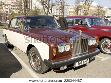MOSCOW - APRIL 27, 2014: retro car rolls royce on rally of classical cars, organized by Russian Club of Classical Autocars on Theatre square.