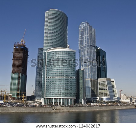 MOSCOW - APRIL 06: skyscrapers in business centre Moscow-city, April 06, 2012, in town Moscow, Russia, built from 2004 till 2013 under construction on Krasnopresnenskaya quay of Moscow-river.