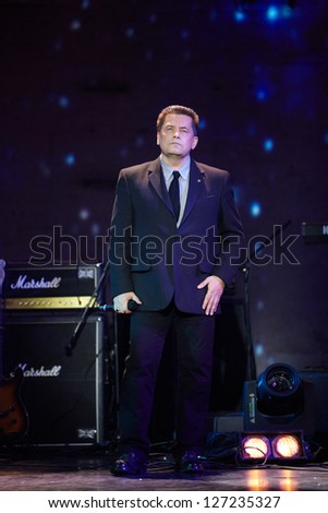 MOSCOW - JAN 23: Singer Nikolai Rastorguev performs on stage at Taganka Theater during Award ceremony of Prize named after Vladimir Vysotsky Own Track, Jan 23, 2012, Moscow, Russia.
