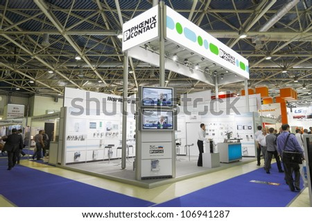 MOSCOW-JUNE 15:Stand German company Phoenix Contact producing equipment for electrical connections at the international exhibition ELEKTRO'2012 on June 15, 2012 in Moscow