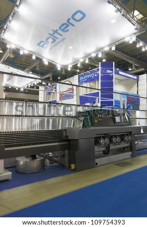 MOSCOW-JUNE 15:The machine is an Italian company Bottero for glass processing at the International Exhibition MIR STEKLA'2012 on June 15, 2012 in Moscow