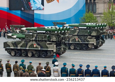 MOSCOW - 6 May 2010: BUK-M2 missile system. Dress rehearsal of Military Parade on 65th anniversary of Victory in Great Patriotic War on May 6, 2010 on Red Square in Moscow, Russia