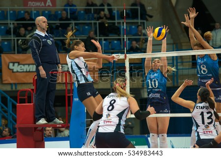 MOSCOW - NOVEMBER 2, 2016: Elitsa Vasileva (18) on game Dynamo Moscow vs Dynamo Kazan on Russian National women Volleyball tournament on November 2, in Moscow, Russia, 2016