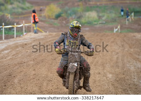 "MOSCOW-OCTOBER 10: Anton Nikonenko 911 (AMK Vnukovo, Moscow), class ""MOTO"", in the 5 stage of the XSR-MOTO.RU Cross Country in Moscow, Park ""Velyaminovo""; on October 10, 2015"