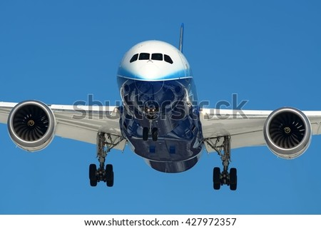 MOSCOW REGION, RUSSIA - APRIL 04, 2012: Boeing Company Boeing B-787 Dreamliner landing to Moscow Vnukovo International airport after a demo flight full front close up