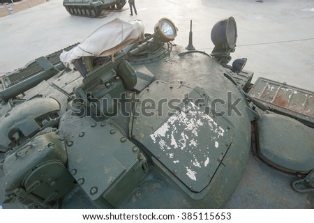 "MOSCOW REGION, RUSSIA - DECEMBER 8, 2015 : Soviet rocket tank the IT-1 ""Dragon"" (tank destroyer, Object 150) in the new Park ""Patriot"", the tower top"