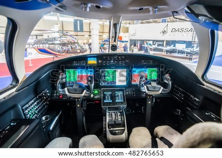 Moscow region, Vnukovo, Russia - September 09, 2016: The cockpit of small jet Cessna 525 Citation M2 N902MZ shown during Jetexpo-2016 at Vnukovo international airport.
