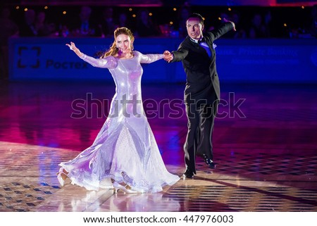 Moscow, Russia - Apr 26, 2015: Unidentified couple perform at the ballroom dance event at the 2015 Open European Professional Latin-American Championship.