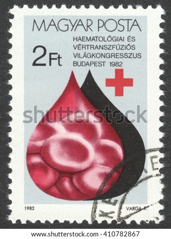MOSCOW, RUSSIA - CIRCA APRIL, 2016: a post stamp printed in HUNGARY, dedicated to World Congress for Hematology and Blood Transfusion, circa 1982
