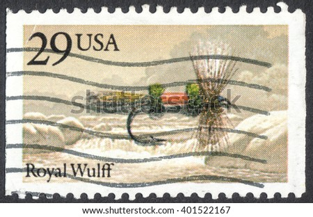 "MOSCOW, RUSSIA - CIRCA APRIL, 2016: a post stamp printed in the USA shows a royal wulff, the series ""Fishing Flies"", circa 1991"