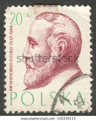 "MOSCOW, RUSSIA - CIRCA DECEMBER, 2016: a post stamp printed in POLAND shows a portrait of Wojciech Oczko, the series ""Famous Polish Physicians"", circa 1957"