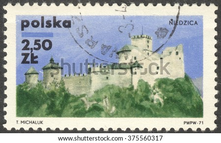 "MOSCOW, RUSSIA - CIRCA FEBRUARY, 2016: a post stamp printed in POLAND shows a castle Niedzica, the series ""Polish castles"", circa 1971"