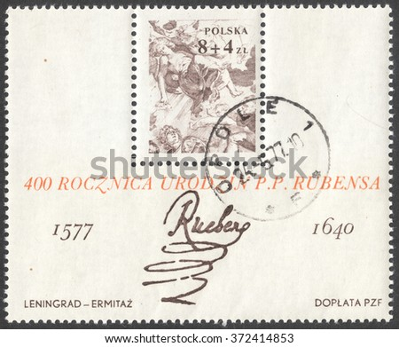 MOSCOW, RUSSIA - CIRCA JANUARY, 2016: a post stamp printed in POLAND shows a signature of artist Peter Paul Rubens, devoted to the 400th Anniversary of the Birth of Peter Paul Rubens, circa 1977