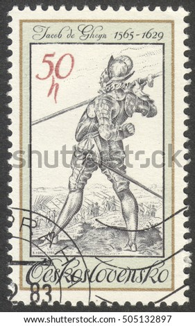 "MOSCOW, RUSSIA - CIRCA OCTOBER, 2016: a stamp printed in CZECHOSLOVAKIA shows a bodyguard of King Rudolf II, Jacob de Gheyn, the series ""Period Costume from Old Engravings"", circa 1983"