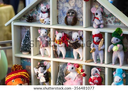 MOSCOW, RUSSIA - DECEMBER 27, 2015: Christmas exhibition at the Central Telegraph, Moscow, Tverskaya street. Handmade felt mouse.