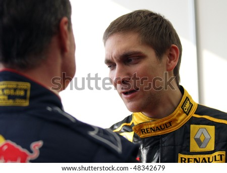 "MOSCOW, RUSSIA - FEBRUARY 23: Russia racing driver, pilot of Renault F1 Team Vitaly Petrov during during the 21st traditional ""Race Stars""Za rulyom"", February 23, 2010 in Moscow, Russia."