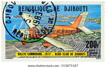 "MOSCOW, RUSSIA - January 11, 2017: A stamp printed in Djibouti shows French light aircraft Morane Saulnier Rallye Commodore, series ""Djibouti Aero Club"", circa 1978"