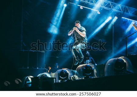 MOSCOW, RUSSIA - JUNE 29, 2014 - American alternative metal band Deftones performing live at Park Live festival at at the National Exhibition Centre on June 29, 2014 in Moscow, Russia