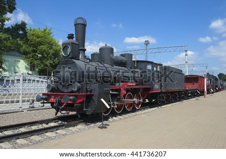 Moscow, Russia - June 23, 2016: locomotive Ov 841, first steam locomotive, has become the main locomotive in the park of the Russian railways, 1903
