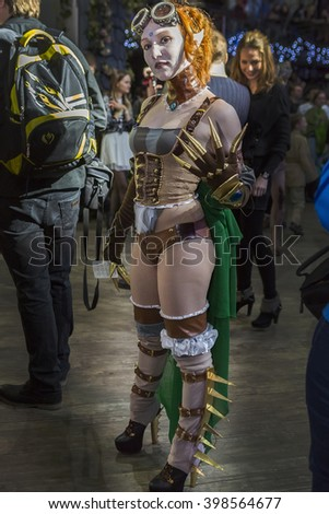 "MOSCOW, RUSSIA, MARCH 19-20, 2016: Festival ""ROSCON-2016"" cosplayer: Steampunk girl in suit"