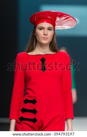 MOSCOW, RUSSIA - MARCH 22, 2016: Model walk runway for PIERRE CARDIN show  ??With love to Russia ?? at Moscow Fashion Week
