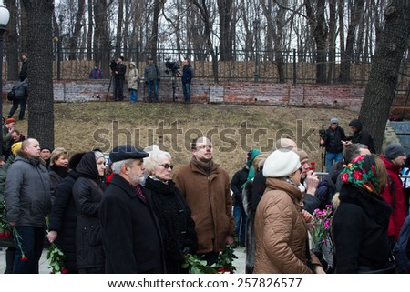 Moscow, Russia - March 3, 2015. Vladimir Kara-Murza in the queue funeral politician Boris Nemtsov. Farewell to the oppositionist Boris Nemtsov, who was killed near the Kremlin