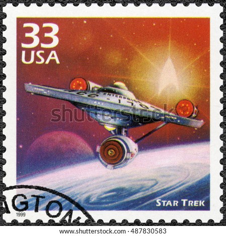 MOSCOW, RUSSIA - MAY 11, 2016: A stamp printed in USA shows Star Trek, series Celebrate the Century, 1960s, circa 1999