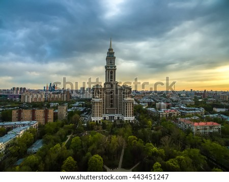Moscow, Russia - May 01, 2016: Aerial view on Moscow skyscraper Triumph Palace at sunset