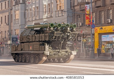 MOSCOW/RUSSIA - MAY 9: Buk-M2 (SA-11 Gadfly) self-propelled, medium-range surface-to-air missile system moves on parade devoted to Victory Day on May 9, 2013 in Moscow.