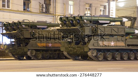 MOSCOW, RUSSIA - MAY, 04 2015: Russian weapons. Rehearsal of military parade (at night) near the Kremlin, Moscow, Russia (on May 04, 2015).Celebration of the 70th anniversary of the Victory Day(WWII)