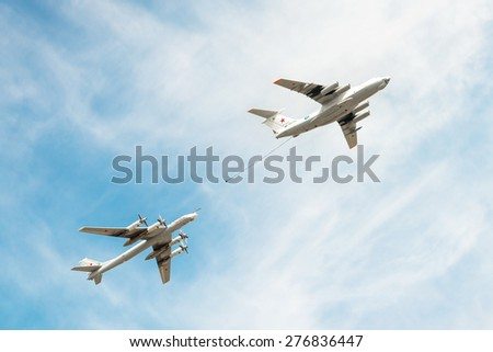 MOSCOW, RUSSIA - MAY 9, 2015. Victory Parade in Red Square to commemorate 70th anniversary of victory in the Great Patriotic war . Imitation of refueling in air of a strategic rocket carrier Tu-95.