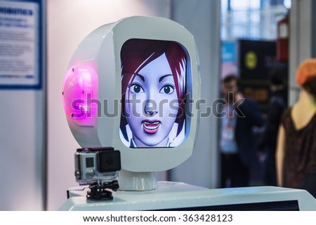 "Moscow, Russia, November 20, 2015: The 3rd International Exhibition of Robotics and advanced technologies ""Robotics Expo"" in Moscow. Focus on the head"