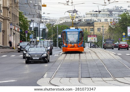 MOSCOW, RUSSIA, on MAY 24, 2015. The tram goes on the brisk street