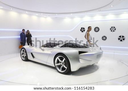 MOSCOW-SEPTEMBER 3:The European premiere of Chevrolet Stingray Concept at the Moscow International Motor Show on September 3,2012 in Moscow