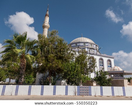 Mosque on sunny summer day
