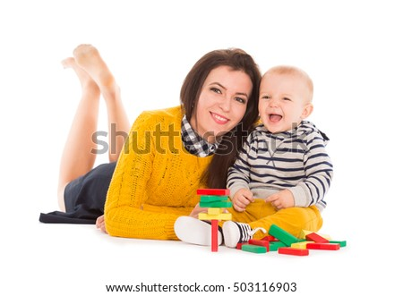 Mother and baby on a white background