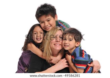 Mother and biracial children having fun isolated on a white background