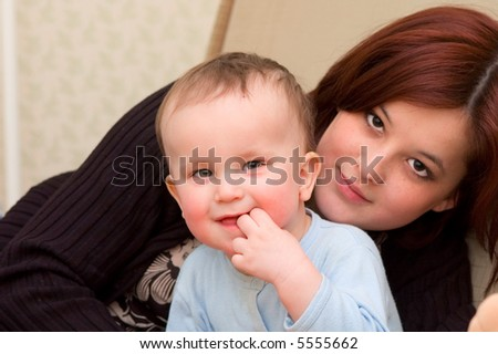 Mother and her 1 year old son