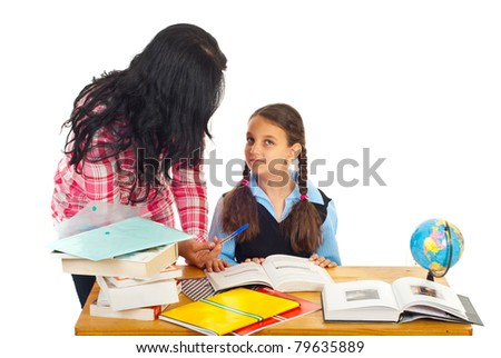 Mother helping daughter with homework and asking her questions isolated on white background