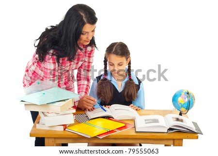 Mother or teacher woman helping girl with homework isolated on white background