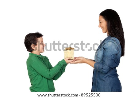 Mother's Day. Child giving a gift to his mother isolated on white background