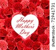 Mother's Day heart shaped card on a background of red roses - stock photo
