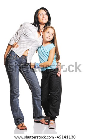 Mother with daughter on white background