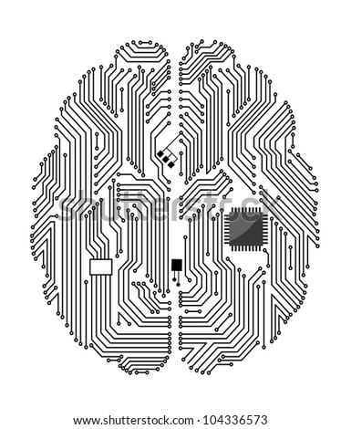 Motherboard brain on white background for technology concept design. Vector version also available in gallery