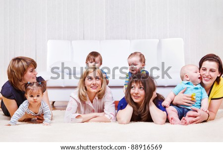 Mothers enjoying time with sweet babies