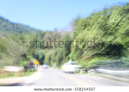 Motion Blurred road and car, transportation