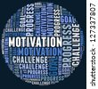 Motivation in word cloud - stock photo